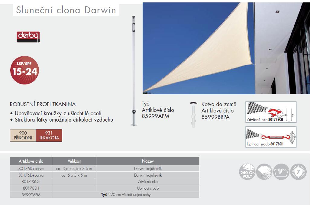 Sluneční clona Darwin trojúhelník 3,6x3,6x3,6 Doppler