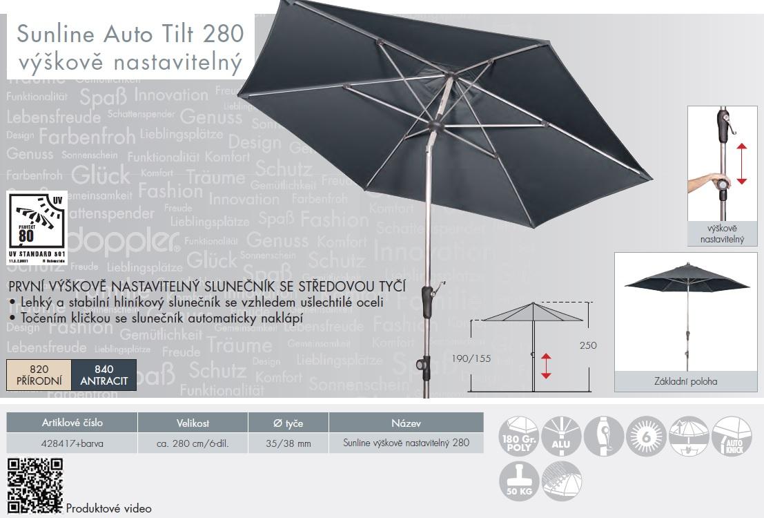 Slunečník Sunline IV 280 cm Auto Tilt výškově nastavitelný DOPPLER