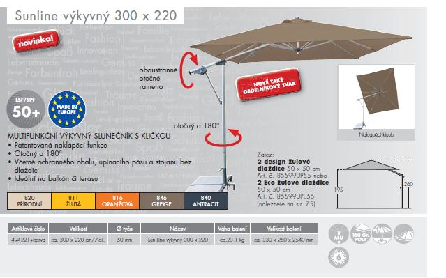 Slunečník Sunline 300x220 Doppler