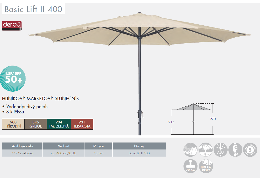 Slunečník Basic Lift II 400 cm Doppler