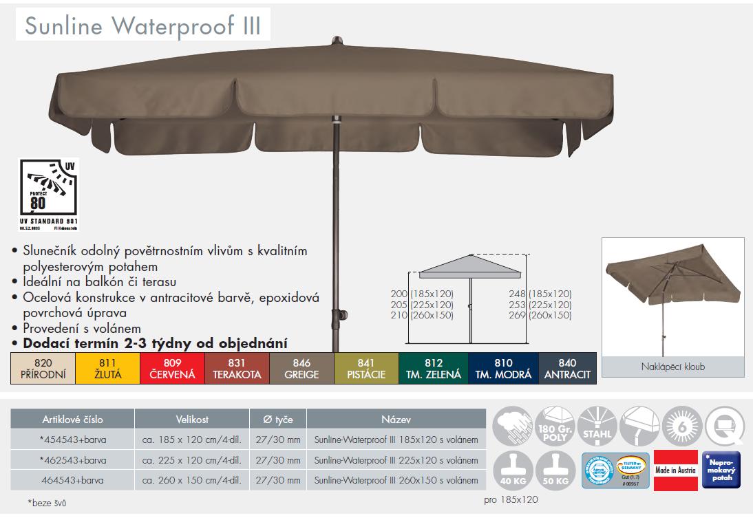 Slunečník Sunline Waterproof III 185x120 Doppler