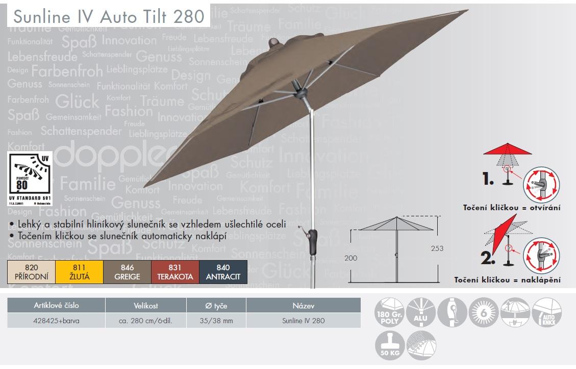 Slunečník Sunline IV 280 cm Auto Tilt DOPPLER