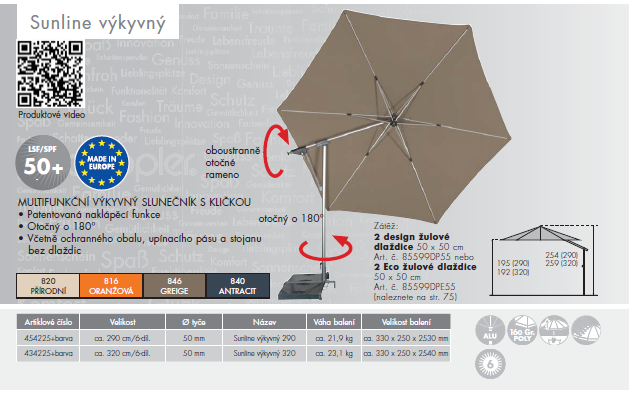 Slunečník Sunline 290 II výkyvný DOPPLER